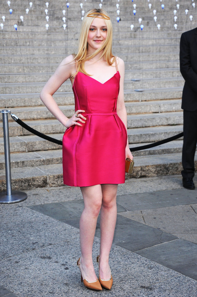 Dakota Fanning rocked a neon pink Lanvin number to the Vanity Fair Party at the 2012 Tribeca Film Festival.