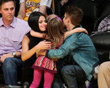Justin and Selena Show Lots of Love at the Lakers With Charlize and Salma
