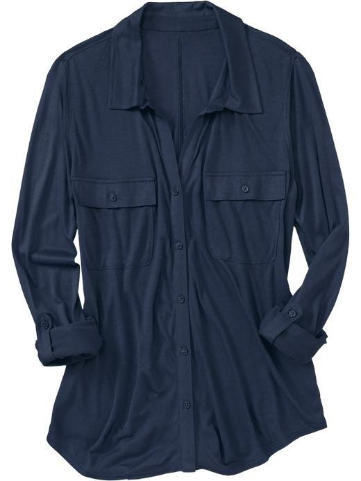 A jersey collared button-down shirt is structured yet breathable for hotter days, and the pockets give it a utilitarian feel. Pair it with a gauzy maxi skirt and an earthy necklace for a safari-chic look. Old Navy Women's Utility-Pocket Jersey Shirt ($20)
