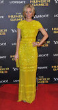 Elizabeth Banks went bold on the red carpet in an embellished canary-yellow Bill Blass gown.