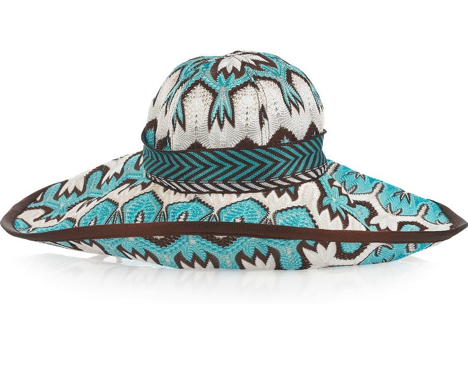 We can't get enough of Missoni's trippy prints and this patterned version will certainly make a statement on the beach. Missoni Turquoise and Chocolate Patterned Hat ($470)
