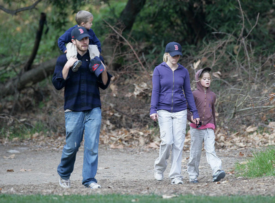Jake Gyllenhaal showed his Boston pride during a January 2008 walk with Reese Witherspoon and her kids Ava and Deacon.