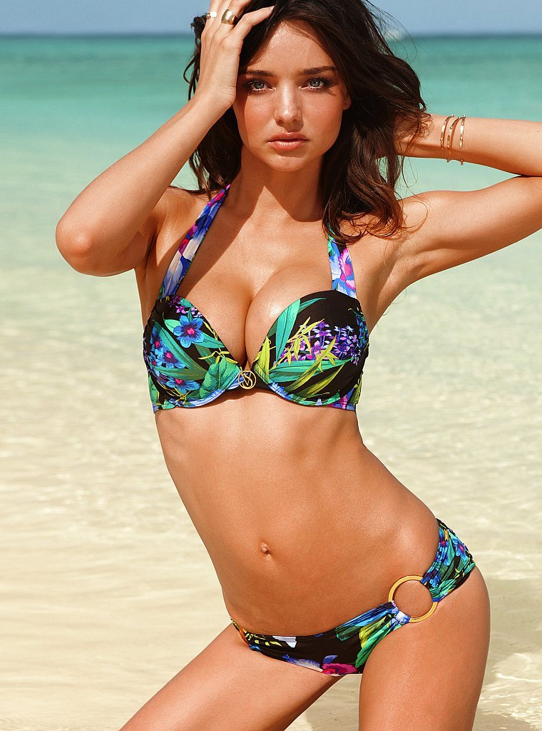Miranda Kerr modeled a tropical bikini for the Victoria's Secret 2012 Swim collection catalog.