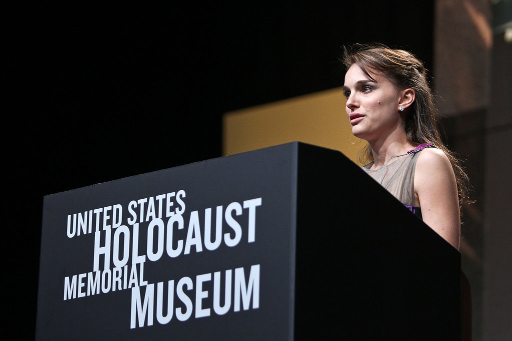 Natalie Portman spoke at the US Holocaust Memorial Museum's 2012 Elie Wiesel National Tribute Dinner.