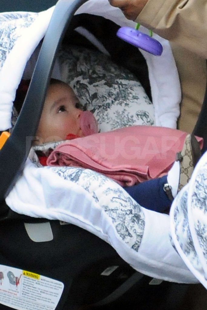 Monroe Cannon was bundled in a pink blanket when she was spotted out in NYC in November 2011.