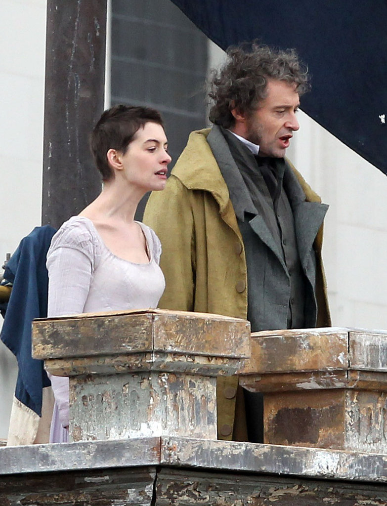 Anne Hathaway and Hugh Jackman filmed Les Misérables.