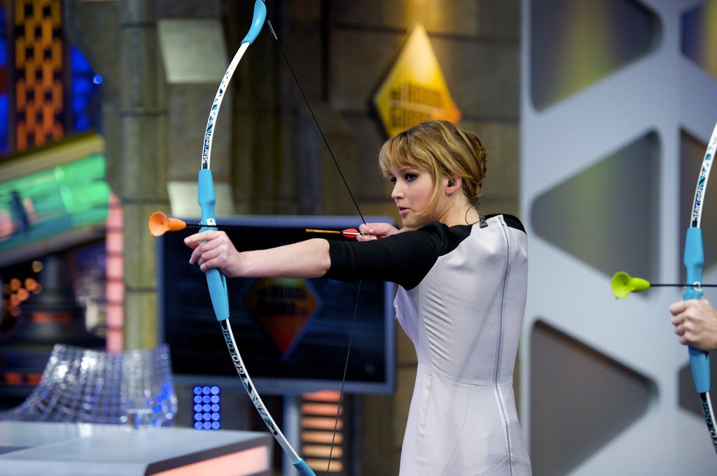 Jennifer Lawrence was challenged to an archery shooting contest.