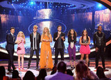 All seven contestants finished out the night on stage with Ryan Seacrest.