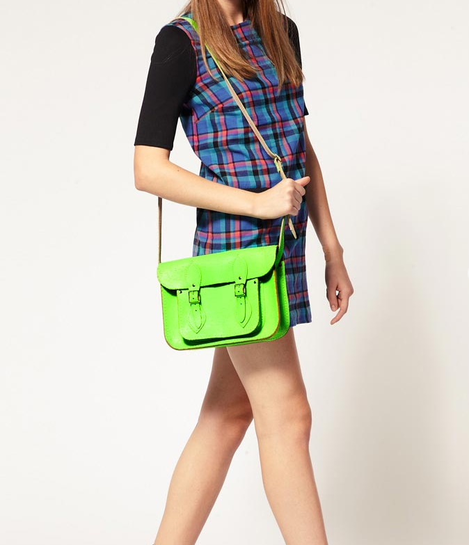 "The bright neon green and cracked leather detailing give this satchel a modern twist to a classic style. Cambridge Satchel Company Exclusive to Asos 11"" Green Fluro Cracked Leather Satchel ($182)"