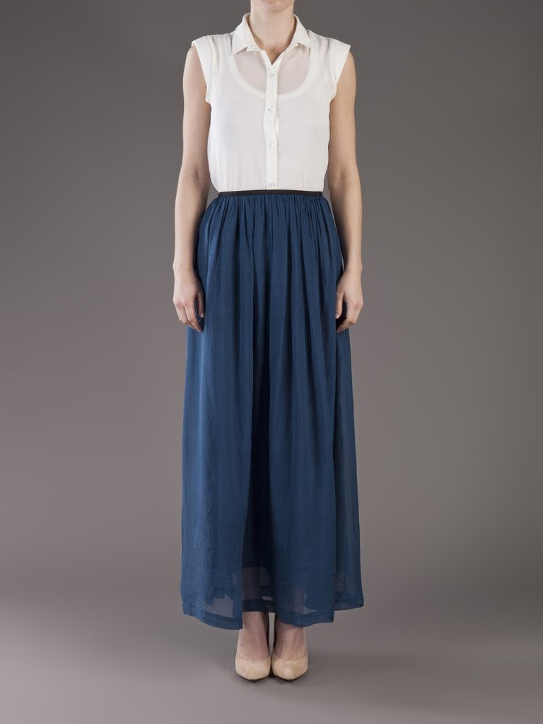 Dress up this deep teal chiffon skirt with a silky blouse for a more dressed up ensemble. Giada Forte Maxi Skirt ($410)