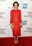 Emily Blunt wore a red lace dress and red shoes to the premiere of Your Sister's Sister during the 2012 Tribeca Film Festival.