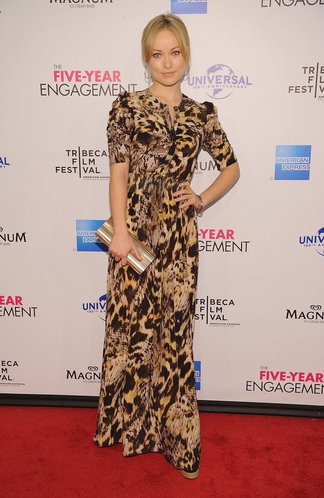 Olivia Wilde opted for Yigal Azrouël's wild-printed gown on the red carpet for The Five-Year Engagement.