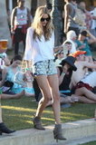 Rosie Huntington-Whiteley looked fashionable at Coachella's second weekend.