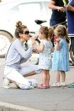 Sarah Jessica Parker and her twins Loretta Broderick and Tabitha Broderick stopped for ice cream while out in NYC.