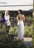 Rihanna wore a white gown for a shoot for Harper's Bazaar in Malibu.