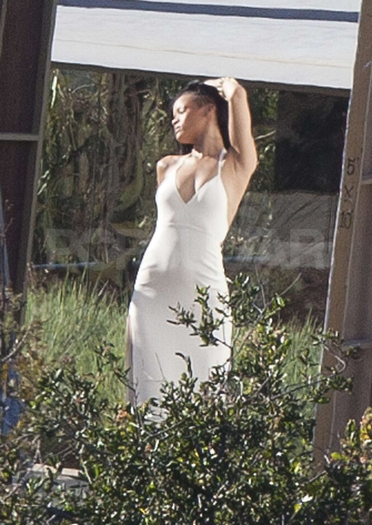 Rihanna gave a sexy pose for a shoot for Harper's Bazaar in Malibu.