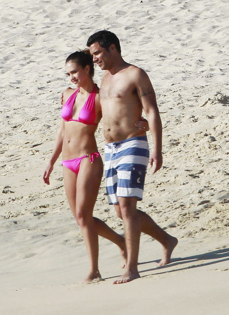 Jessica Alba and husband Cash Warren frolicked on the beach while in Cabo San Lucas in January 2011.