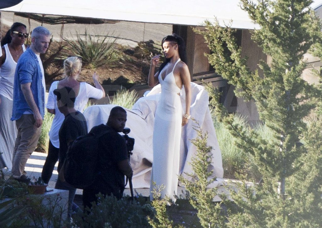 Rihanna wore a white gown for a Harper's Bazaar shoot in Malibu.