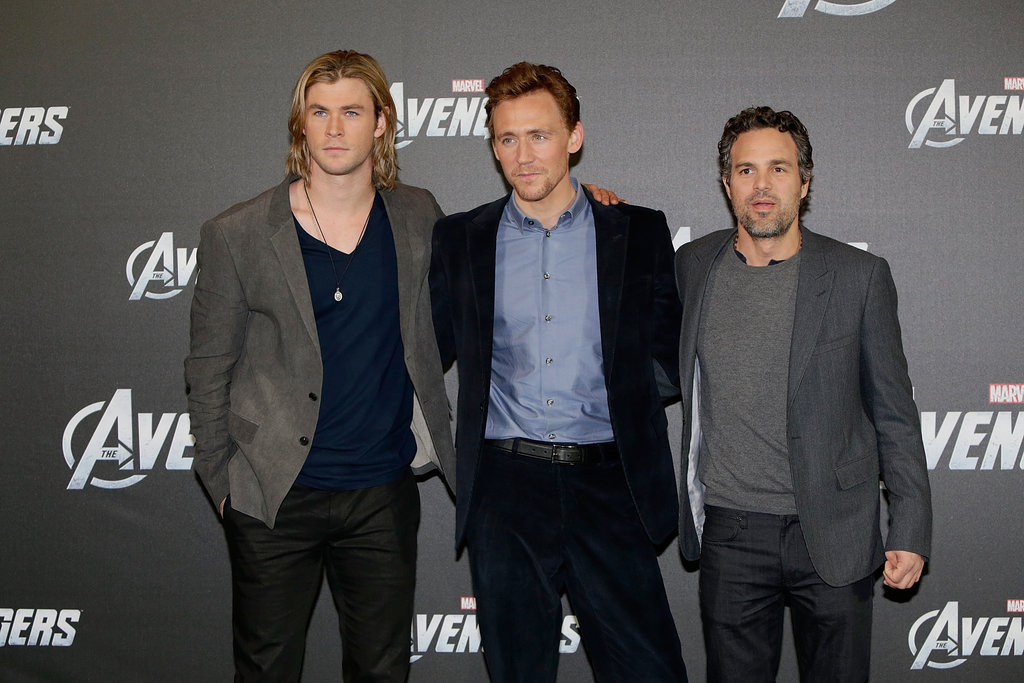 The Avengers costars Mark Ruffalo, Chris Hemsworth, and Tom Hiddleston attended a press call in Berlin.