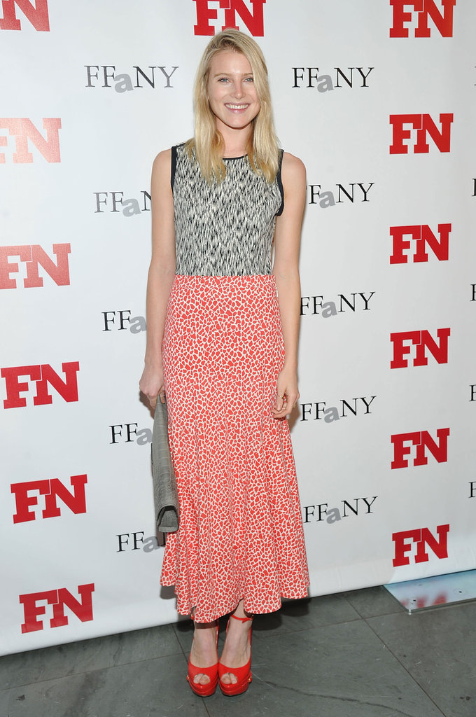 Dree Hemingway's cherry-red platforms play off the pattern of her pretty skirt.