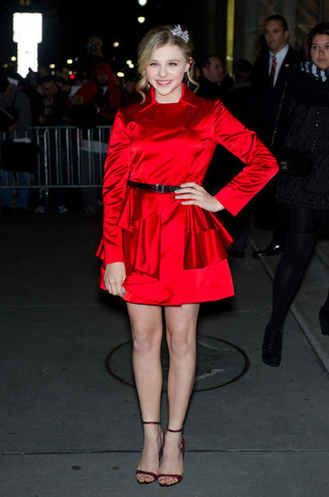 Chloe Moretz accessorized her Miu Miu red frock with a coordinating pair of red, glittery heels.