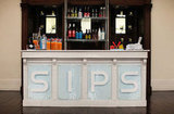 "The simple ""Sips"" sign is a great, standout piece that requires minimal effort to put together. Source: Jasmine Star via Green Wedding Shoes"