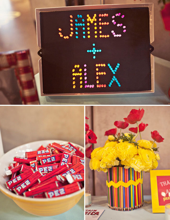 Channel a bit of retro charm by using old school toys, like the Lite Brite, as fun table props. Source: Jagger Photographry via Green Wedding Shoes