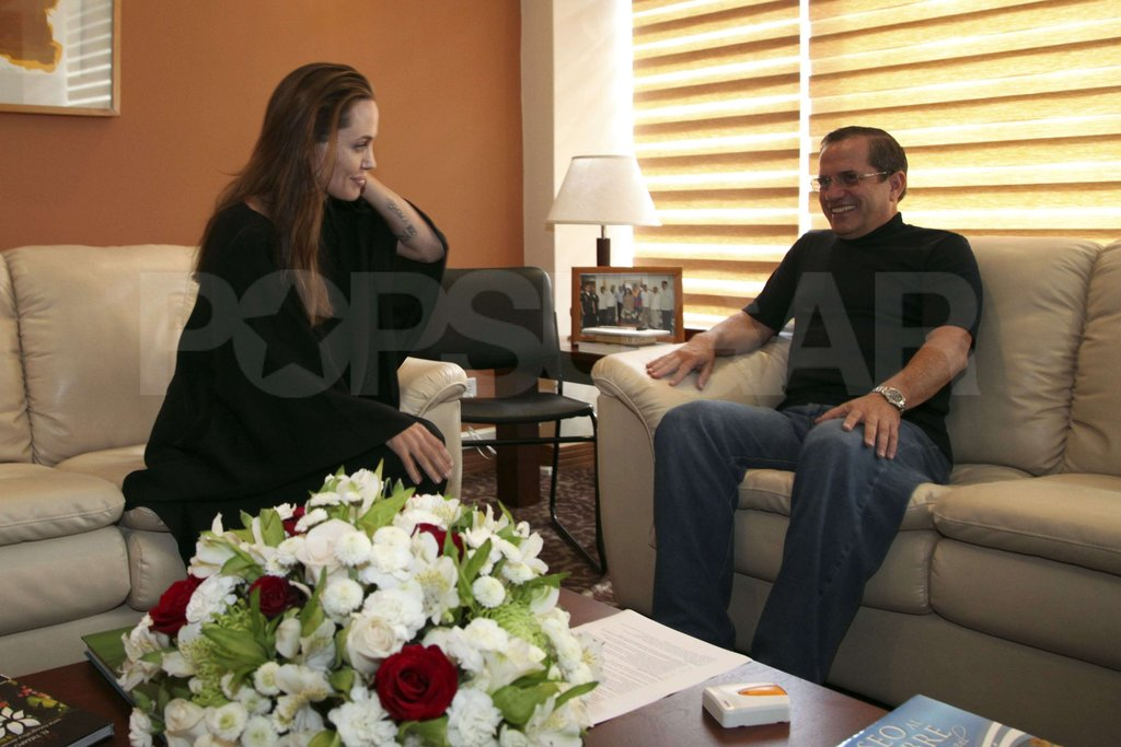 Angelina Jolie met with Ricardo Patino at Foreign Ministry Headquarters in Ecuador.