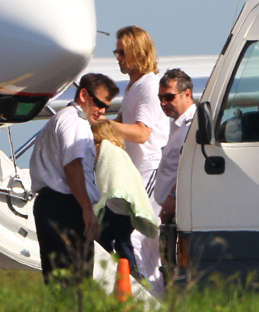 Brad Pitt boarded a private jet leaving the Galapagos Islands after a family vacation.