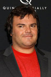 Jack Black wore a red t-shirt under a blazer for the New York premiere of Bernie.