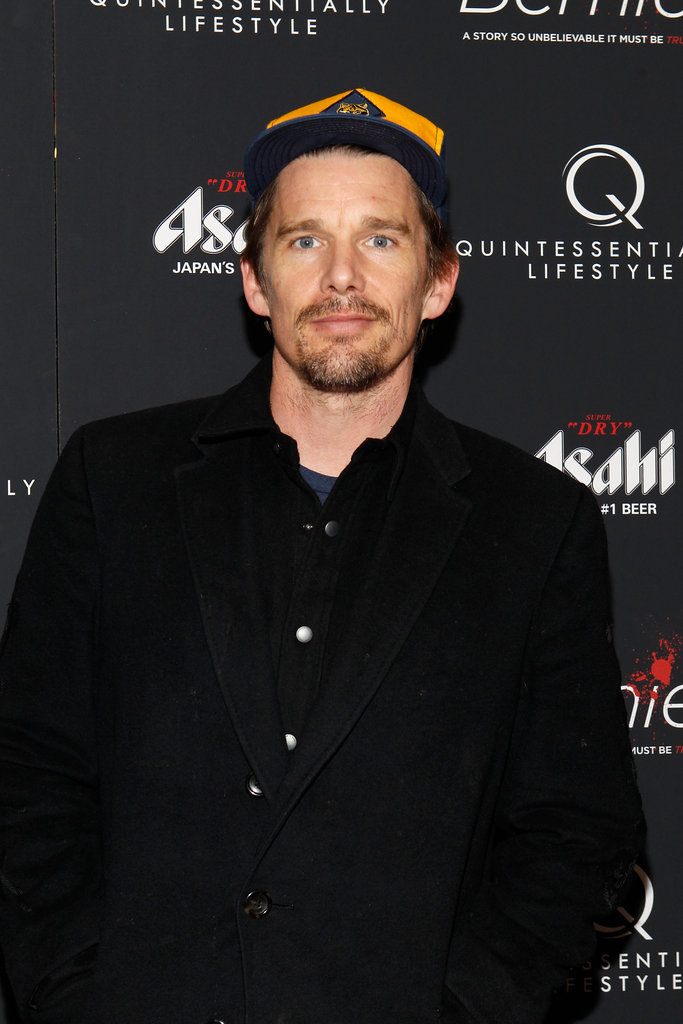 Ethan Hawke looked casual on the red carpet of the New York premiere of Bernie.