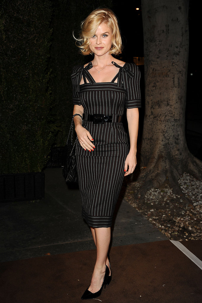 The actress went the sophisticated route in a pin-striped sheath dress at the Chanel and Charles Finch pre-Oscar dinner in February 2012.