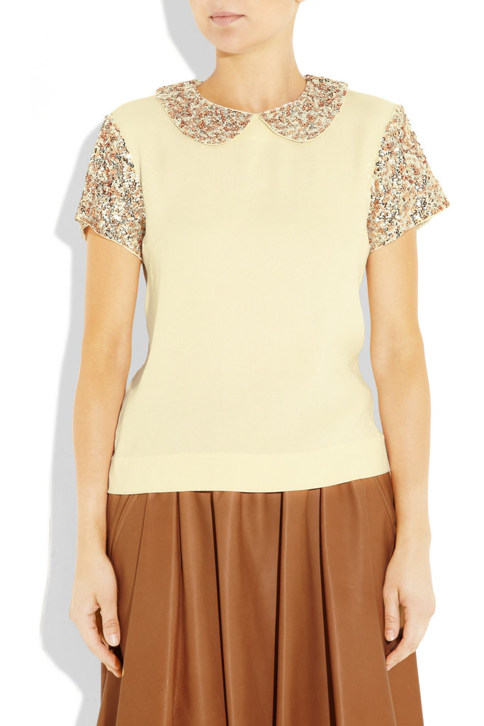 Marlene Birger Illyas Sequined Crepe Top ($595)