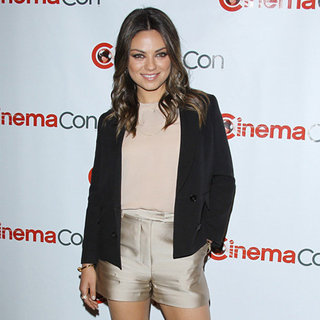 Mila Kunis in Satin Shorts