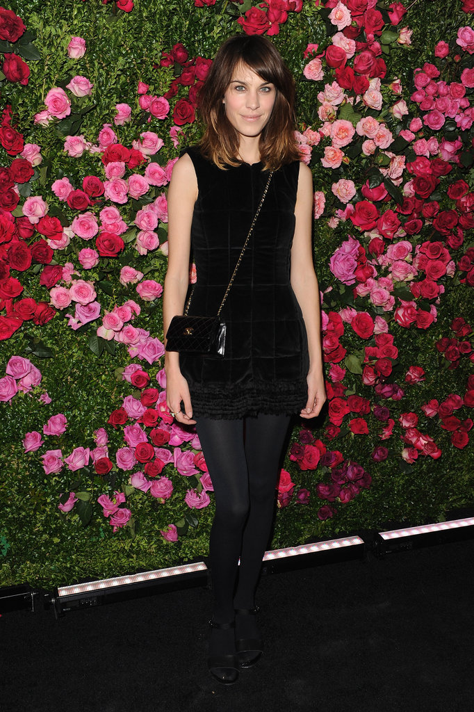 Alexa Chung wore all black to the Chanel dinner party at the 2012 Tribeca Film Festival.