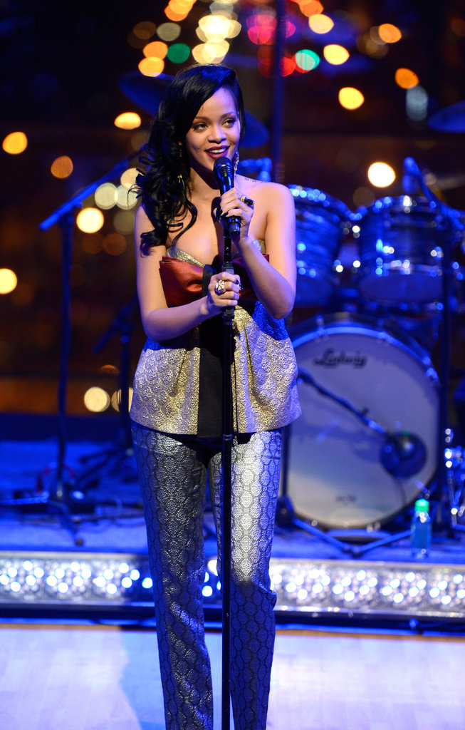Rihanna performed on stage at the Time 100 gala in NYC.