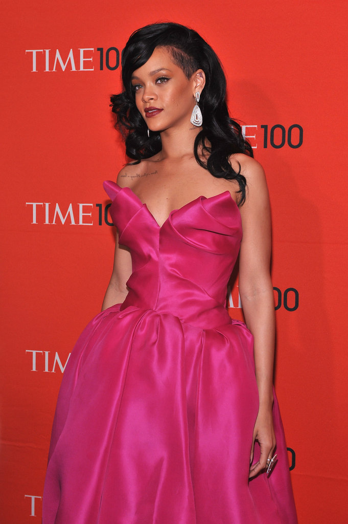 Rihanna dazzled in a Marchesa dress at the Time 100 gala in NYC.