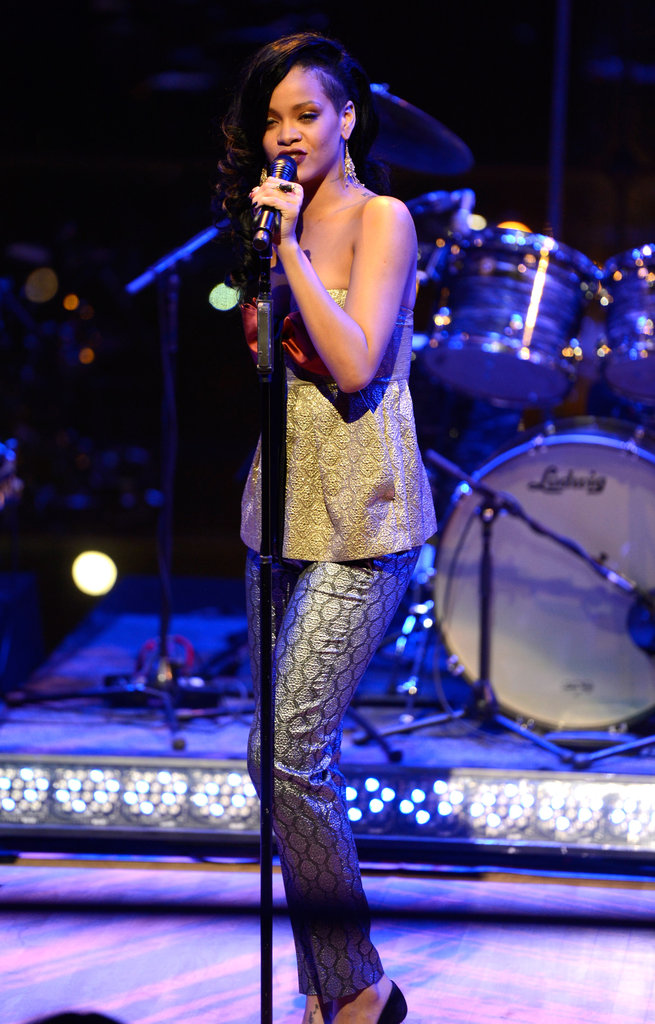 Rihanna gave a performance at the Time 100 gala in NYC.