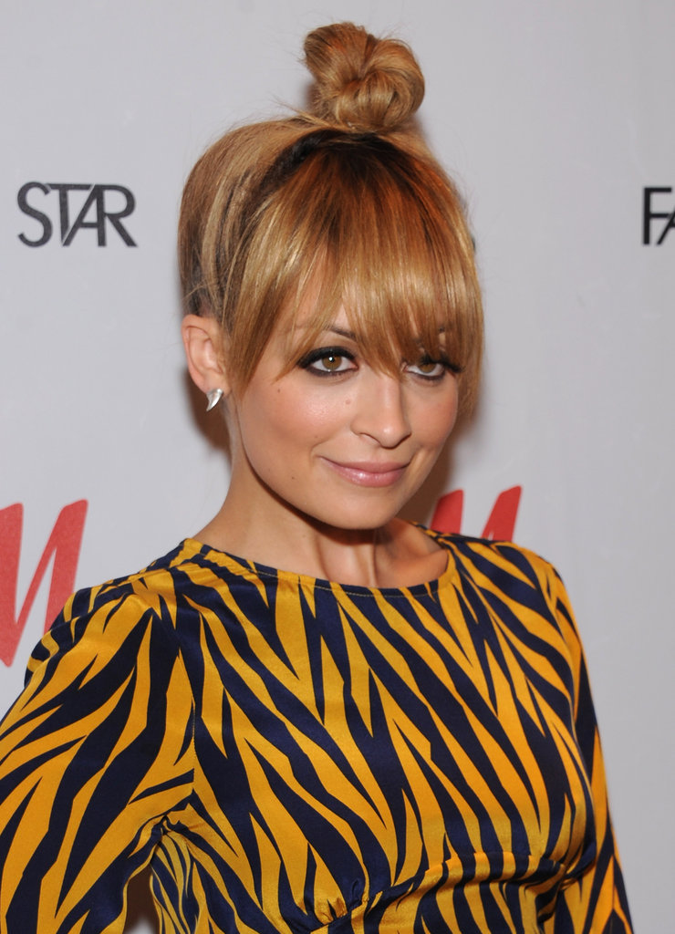 Nicole Richie had her hair up.