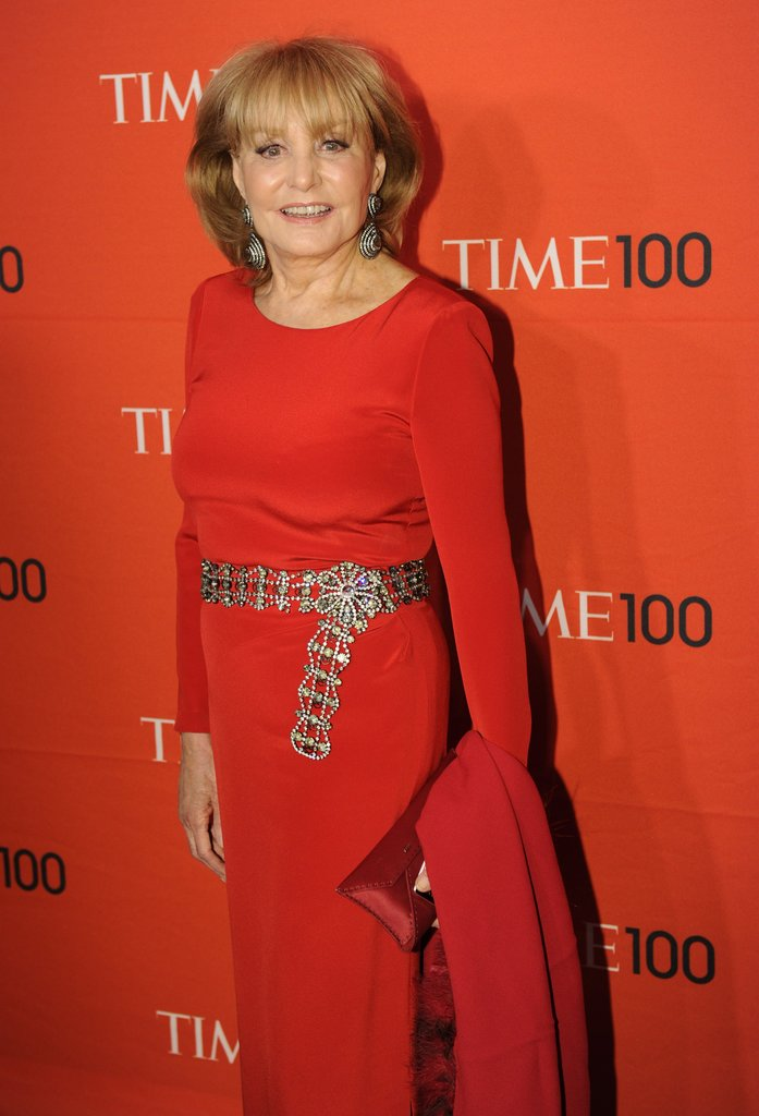 Barbara Walters wore red to the Time 100 gala in NYC.