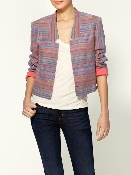 This cropped, striped iteration is perfect for dressing up jeans at the office.  Addison Striped Linen Jacket ($192)