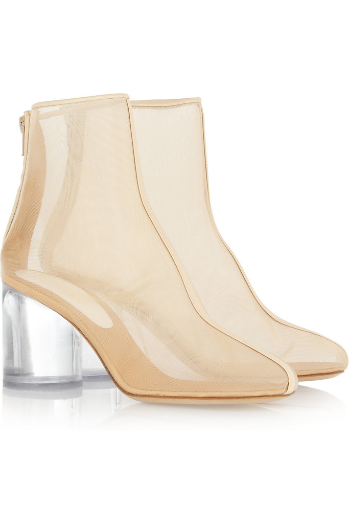 Can we assume that Barbarella would have worn these space-age-style booties?  Maison Martin Margiela Leather-Trimmed Perspex Boots ($1,095)