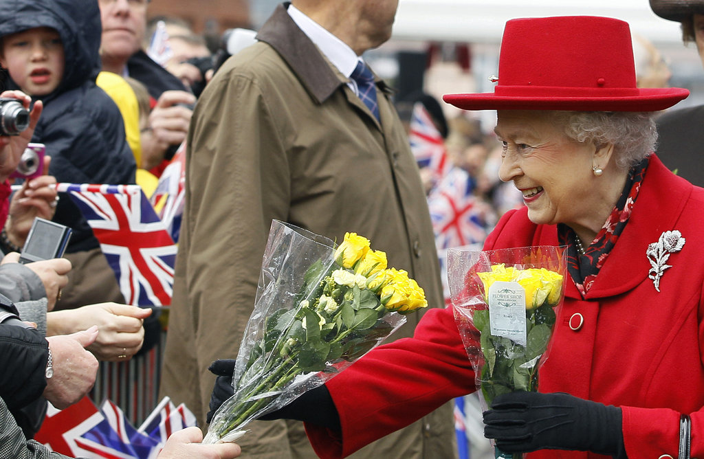 Queen Elizabeth II received flowers from the public in East London.