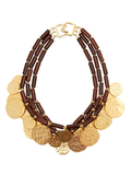 Kenneth Jay Lane Wood and Metal Disc Necklace ($132, originally $330)