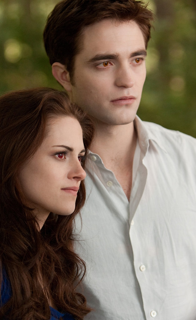 Kristen Stewart as Bella and Robert Pattinson as Edward in Breaking Dawn Part 2.
