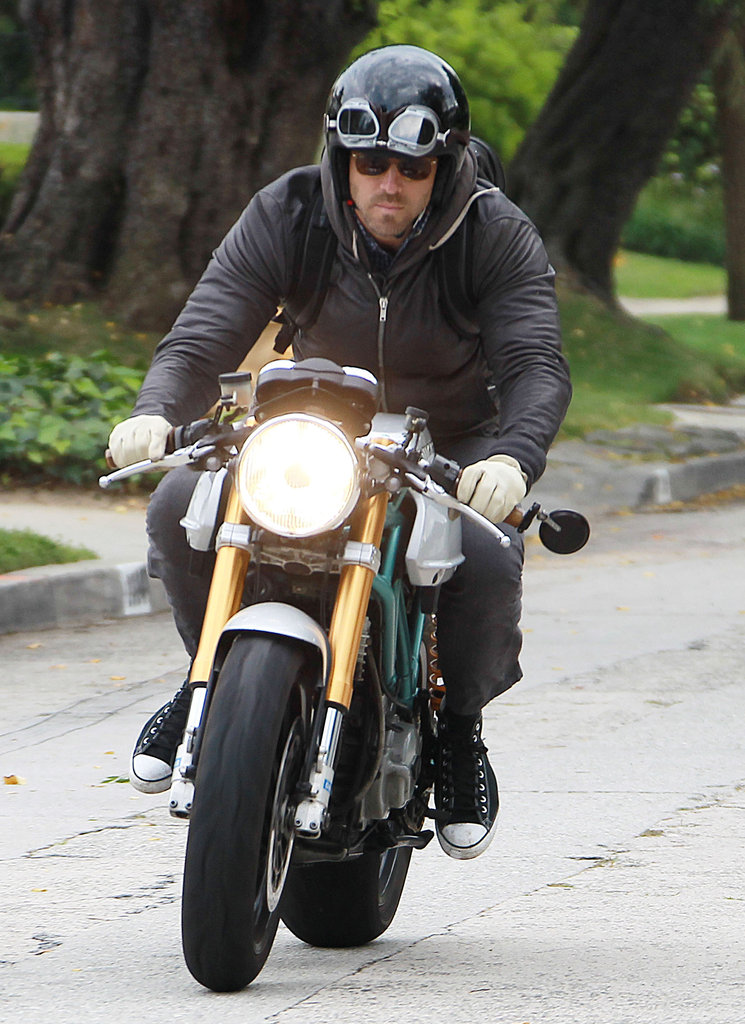 Ryan Reynolds drove around LA on his motorcycle.