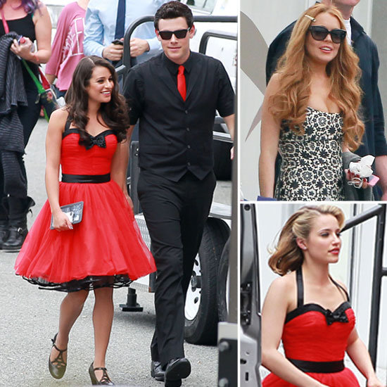 Lindsay Lohan Shoots Glee Alongside a Coupled Up Cory Monteith and Lea Michele