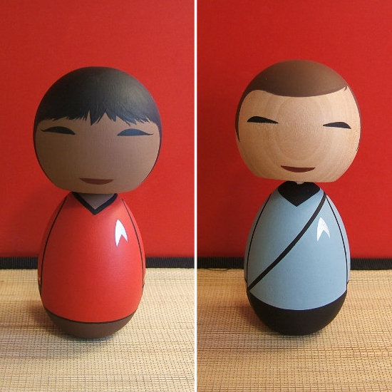 These round custom Star Trek Kokeshi dolls ($25) are contemporary and clean in their design and detailing. While they probably aren't intended to top a cake, they would look great at a modern, futuristic wedding.