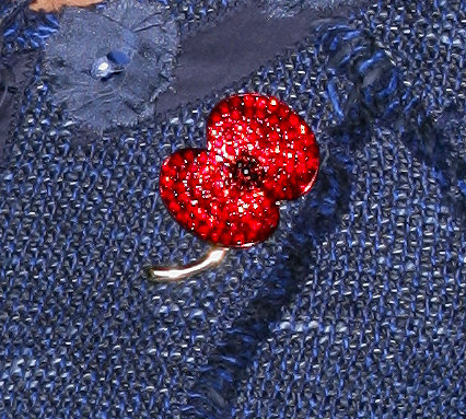 A close-up of her sparkly red poppy brooch pin.
