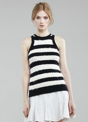 This sexy-fit knit offers up classic stripes that'll work with everything from a pair of high-waisted flares to a slim-fit pencil skirt for the office.  10 Crosby Derek Lam Striped Knit Tank ($225)